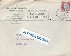 "LSC 1963  - ESPERANTO -  Centre Culturel Espérantiste à PERPIGNAN - Cachet Et Flamme ""55èm Congrès ESPERANTO 1.2.3JUIN63 - Esperanto"