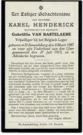 ST. AMANDSBERG - Karel HENDERICK - Vrijwilliger Belgisch Leger - Gesneuveld 1915 Aan De IJZER - 1914-18