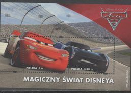 POLAND , 2017, MNH,DISNEY, CARS, S/SHEET - Disney