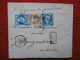 LETTRE 3 TIMBRES NAPOLEON CACHET NIMES MANUSCRIT PAPIERS DE PROCEDURE GRIFFE APRES LE DEPART - 1849-1876: Période Classique