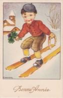 """LOT De 2 CPA - Illustrateur GOUGEON - Enfant à Ski """"bonne Année- Enfant à La Plage (lot Pat 57) - Gougeon"""