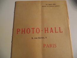 PHOTO HALL , Paris,  Extrait Du Catalogue Général, 1901 - Publicités