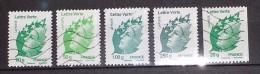 France 2011 : Type Marianne De Beaujard Lettre Verte N° 4593 à 4597 Oblitérés Série Complète + Roulette 20g - Usati