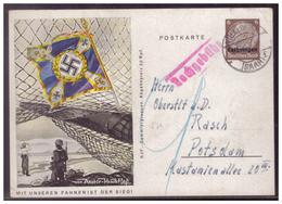Dt-Reich (007635) WK II Lothringen Propaganda- Ganzsache P5, Mit Unseren Fahnen Ist Der Sieg, Gelaufen 1943, Nachporto - Deutschland