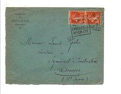 DAGUIN SUR LETTRE DE MAIRIE DE MEGEVE HAUTE SAVOIE 1933 - Marcophilie (Lettres)