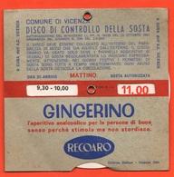 Recoaro Disco Orario Auto Anno 1964  Mattino E Pomeriggio - Voitures