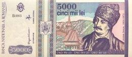 Romania 5.000 Lei, P-104 (1993) - UNC - Low Serial Number 000340 - Rumänien