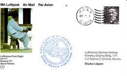 Japan 1988  Erstflug Der Lufthansa : Seoul - Osaka   Karte/ Card - Airmail