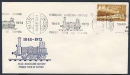 Spain Espana 1973 Cover / Brief / Envelope - 1848-1973 Ferrocarril Barcelona - Mataro, 1. Tren España / Eisenbahn - Eisenbahnen