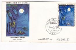 LE COUPLE AU MIMOSA. MARC CHAGALL-FDC 1973 REPUBLIQUE DU SENEGAL - BLEUP - Arts