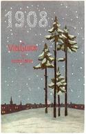 12 Année, Date, Millesime 1908 - Viel Glück, Arbres Pin Neige - Neujahr
