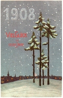 12 Année, Date, Millesime 1908 - Viel Glück, Arbres Pin Neige - Anno Nuovo