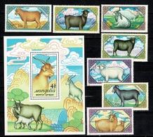 Mongolia 1988  Mi 1999/2005**, Bl 131**,  Geiten/chèvres/goats/Ziegen MNH - Mongolie