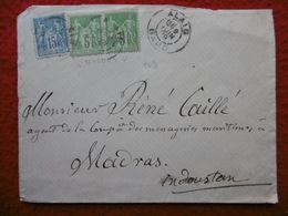 LETTRE CACHET ALAIS 3 TIMBRES TYPE SAGE VIA MADRAS INDOUSTAN 1889 CACHETS VERSO SEA POST - Marcofilia (sobres)