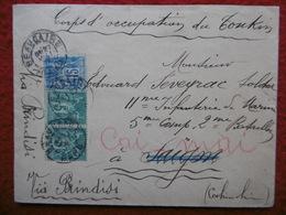 CORPS D OCCUPATION DU TONKIN LETTRE DE BEAUCAIRE VIA BRINDISI CACHET CORR D ARMEES SAIGON 1897 - Marcophilie (Lettres)