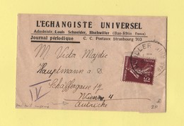 Type Semeuse - 15c Seul Sur Bande Destination Autriche Demi Tarif Des Imprimes Avec Reciprocite - Bischwiller - 1937 - Postmark Collection (Covers)