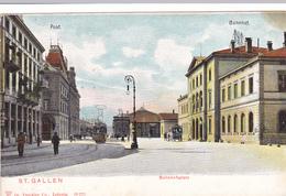 344/ St. Gallen, Bahnhofsplatz, Bahnhof Und Post, Tram Of Trolleybus - SG St. Gall