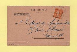 Type Semeuse - 5c Seul Sur Convocation Au Tarif Imprime Avec Carte Reponse - 1923 - Marcophilie (Lettres)