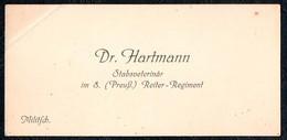 A8560 - Militsch - Milicz - Schlesien - Dr. Hartmann - Stabsveterinär 8. Preußisches Reiter Regiment Militär - Visitenkarten