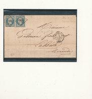 N°14 X 2 BLEU LAITEUX SUR LETTRE 12 JUILLET 1854 - 1853-1860 Napoléon III