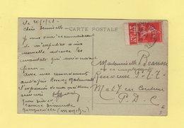 Type Semeuse - 40c Seul Sur Carte Postale - Bande Publicitaire Evian - Querqueville Manche - 26-1-1928 - Poststempel (Briefe)