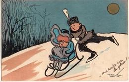 Fantaisie Patinage - Carte Illustrée à La Main - 1900-1949