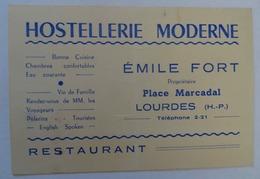 CARTE De L'HOSTELLERIE MODERNE ÉMILE FORT, PLACE MARCADAL, LOURDES - Cartes D'hotel
