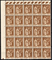 FRANCE 1932 - BLOC DE 25 TP NEUFS**  Y.T. N° 282 / COIN DE FEUILLE - France