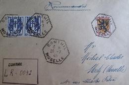 R1949/62  - TYPE CHAÎNES BRISEES - PAIRE N°673 + N°602 Sur ✉️ - RARE Cachet Hexagonal De Conthil (Moselle) + GRIFFE - France