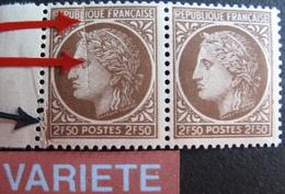 R1949/65  - 1945 - TYPE CERES De MAZELIN - (PAIRE) N°681 NEUFS* - VARIETE ➤➤➤ Défaut Par Pliage + Pli Accordéon - Curiosités: 1945-49 Neufs