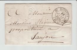 """CHARENTE INFre: """" SAINTES """" CàD Type 12 + TM 2 / LAC De 1831 Pour Saujon TB - Marcophilie (Lettres)"""