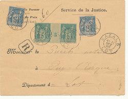 N°75 PAIRE MILLÉSIMÉE + 2/ 90 SUR LETTRE CHARGEE - 1876-1898 Sage (Type II)