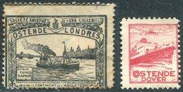 Belgium John Cockerill Jewellery Dover - Ostende - Londres SHIP Schiff Navire Vignette Poster Reklamemarke België GB UK - Bateaux
