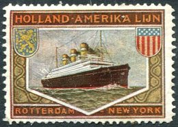 Netherlands USA Holland-Amerika Lijn Rotterdam-New York Line SHIP Liner Schiff Schip Navire Vignette Poster Reklamemarke - Barche