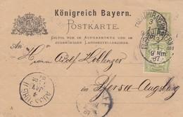 1887: Postkarte Von Fürth Nach Pfersee Bei Augsburg - Bayern