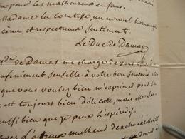 LAS Autographe Signée Le Duc De Damas Vers 1840 Paris  Relations Entre La Noblesse Du Moment - Handtekening