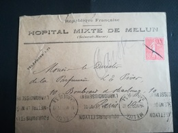 Hôpital Mixte De Melun Cachet 1927 - Postmark Collection (Covers)