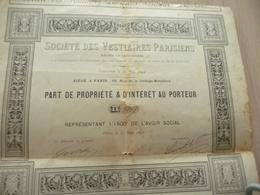 Part D'intérêt Et De Propriété Au Porteur Société Vestiaire Parisien 1892 - Mines