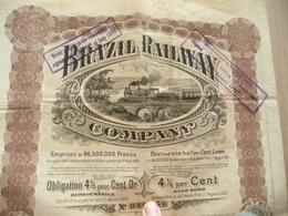 Action 4% Or Brazil Railway Chemins De Fer Brésil 1913 Illustrée Train - Chemin De Fer & Tramway
