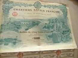 Action 500 Francs Chantiers Navals Français Illustrée - Navigation