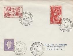 OBLIT. TEMPORAIRE EXPO. PHILATÉLIQUE CHATEAUDUN 25.11.50 - Postmark Collection (Covers)