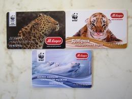 3  CARDS   RUSSIE   ANIMAUX - Télécartes