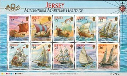 MVS-BK1-653 MINT ¤ JERSEY 2000 KOMPL. SET  ¤ VOILIERS - ZEILSCHEPEN - SAILING SHIPS OVER THE WORLD - Maritiem