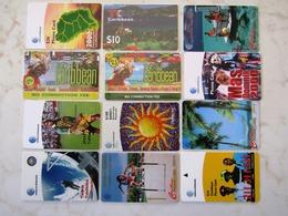 LOT   12   CARDS   CARIBBEAN - Télécartes