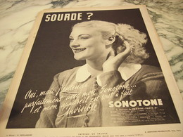 ANCIENNE PUBLICITE SOURD  DE SONOTONE 1938 - Other