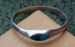 BA-007 Bague En Ag ((poinçon) à Décor De Pirre Semi-précieuse Probable Turquoise - Bijoux & Horlogerie