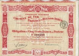 ARGENTINE-CHEMINS DE FER DANS LA PROVINCE DE BUENOS AYRES. Obligation 1919 - Actions & Titres