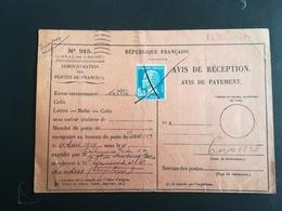 Avis De Réception 1929 - Postmark Collection (Covers)