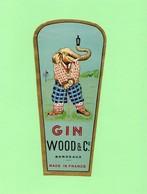 Etiquette Gin, WOOD & Cie, Bordeaux, éléphant, Golf - Etiquettes