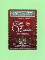 Etiquette Rhum Cubain, Ron Varadero, Anejo Reserva, Republica De Cuba, 12 X 8.5 Cm - Rhum